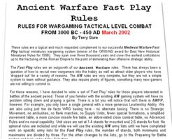 Ancient Warfare Fast Play Rules