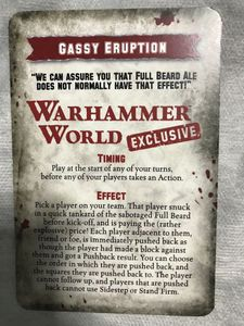Blood Bowl (2016 edition): Gassy Eruption Special Play Promo Card