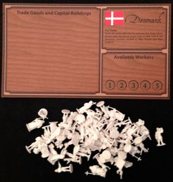 Empires: Age of Discovery – Denmark Player Board and White Figures