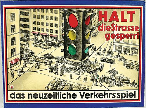 Halt die Strasse gesperrt  das neuzeitliche Verkehrsspiel