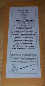 Mad Scientist University Course Packet: Dorm Life