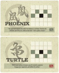 Onitama: Phoenix and Turtle Promo Cards