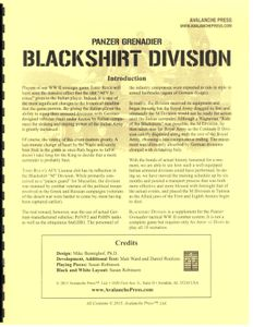 Panzer Grenadier: Blackshirt Division