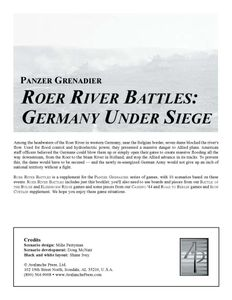 Panzer Grenadier: Roer River Battles – Germany Under Siege