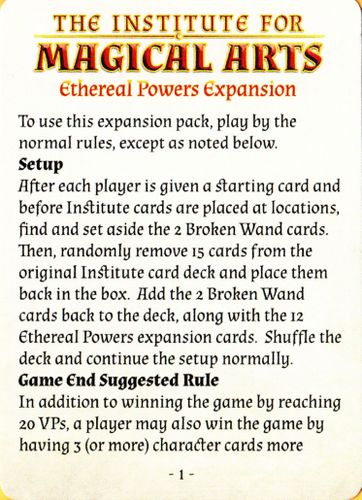 The Institute for Magical Arts: Ethereal Powers Expansion