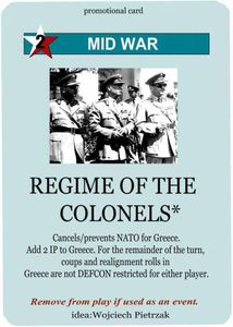 Twilight Struggle: Regime of the Colonels Promo Card